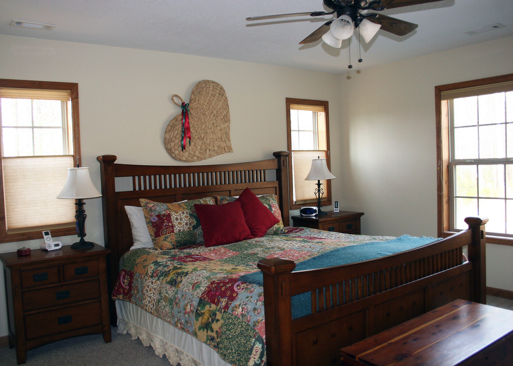 This is the master bedroom.  It has a king bed with 2 night stands, the cedar chest, a dresser and an armoire with drawers and a TV so the room is good size.