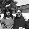 """Jan with Father Armand """"Spike"""" Morrisette (priest of St.<br /> Jean Baptiste, and Kerouac's boyhood priest), in Lowell, June 1988,<br /> photo by Gerald Nicosia"""