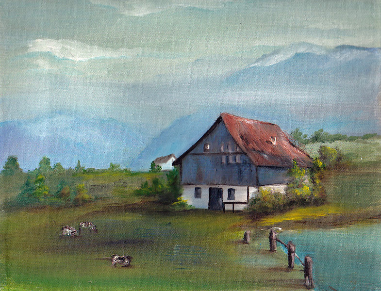 Barn in the Swiss Alps