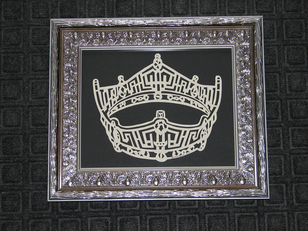 "Title: ""Miss USA Crown"" - Framed Hand Cut Parchment  Size: 8x10 Price:$49  Plus Tax -S&H Email Your Order: JanetLynchArt@gmail.com"