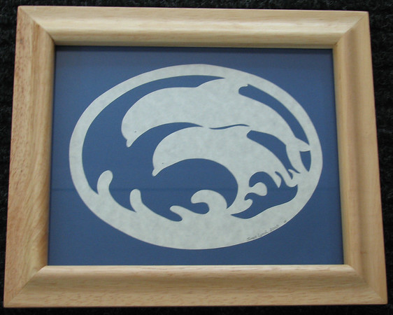 "Title: ""Dolphins"" - Framed Hand Cut Parchment - Janet's Original Design<br /> Size: 8x10<br /> Price:$25 Plus Tax -S&H<br /> Email Your Order: JanetLynchArt@gmail.com"