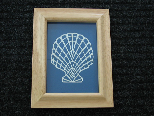 """Title: """"Seashell 2"""" - Framed Hand Cut Parchment - Janet's Original Design<br /> Size: 5x7<br /> Price:$25 Plus Tax -S&H<br /> Email Your Order: JanetLynchArt@gmail.com"""