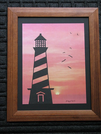 "Title: ""Cape Hatteras Light House At Sunrise"" - Framed Hand Cut Parchment Janet's Original Design<br /> Size: 10x13<br /> Price:$29  Plus Tax -S&H<br /> Email Your Order: JanetLynchArt@gmail.com"