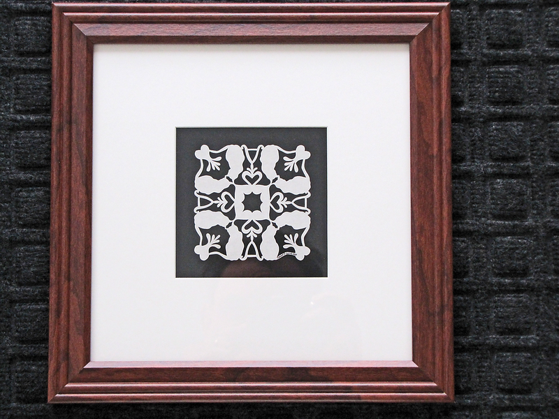"Title: ""Alex's Cats"" - Quilt Pattern<br /> Framed Hand Cut Parchment <br /> Size: 10x10<br /> Difficulty 6 out of 10<br /> Price:$39 Plus Tax -S&H<br /> Email Your Order: JanetLynchArt@gmail.com"