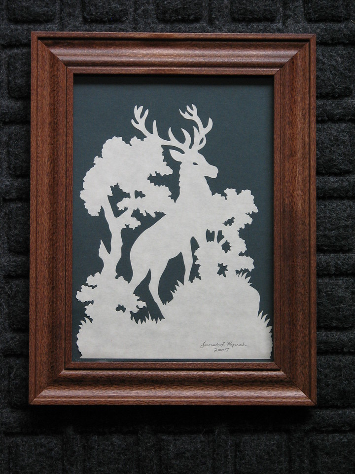 """Title: """"Stag"""" - Framed Hand Cut Parchment <br /> Size: 5x7<br /> Price:$35 Plus Tax -S&H<br /> Email Your Order: JanetLynchArt@gmail.com"""