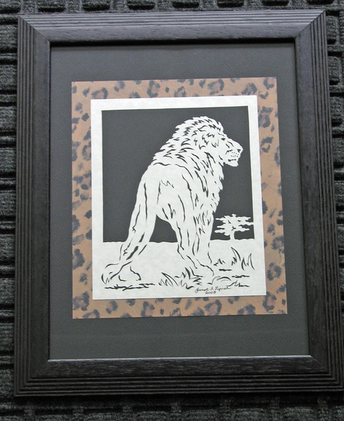 "Title: ""Lion"" - Framed Hand Cut Parchment <br /> Size: 11x14<br /> Price:$35 Plus Tax -S&H<br /> Email Your Order: JanetLynchArt@gmail.com"