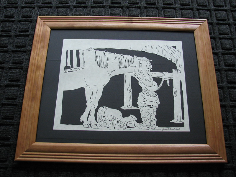 "From our ""Most Popular"" room in our Art Gallery Located in Manakin Sabot, VA<br /> <br /> Title: ""Cow Boy With Horse"" - Framed Hand Cut Parchment<br /> Size: 11x14<br /> Difficulty 6 of 10<br /> Buy This Item: <a href=""http://www.etsy.com/listing/86015152/cow-boy-with-horse-scherenschnitte-hand"">http://www.etsy.com/listing/86015152/cow-boy-with-horse-scherenschnitte-hand</a><br /> <br /> Scherenschnitte (hand paper cutting)<br /> Signed and dated by Janet Lynch framed 11x14<br /> Water Mark will not appear on your art order<br /> <br /> ~Want this as a print on a 5x7 Note Card? <a href=""http://www.etsy.com/listing/71810088/note-cards-5x7-choose-any-photo-or-paper"">http://www.etsy.com/listing/71810088/note-cards-5x7-choose-any-photo-or-paper</a><br /> <br /> ~ Want this as a print on a jewelry pendant? <a href=""http://www.etsy.com/listing/74448914/cape-hatteras-lighthouse-fine-art"">http://www.etsy.com/listing/74448914/cape-hatteras-lighthouse-fine-art</a><br /> <br /> ~ Special Custom requests welcome.....just click CLICK  CONTACT at the bottom and I will do my best to work with you. If you have a theme or particular interest I am sure I have a design for you......or I will design one just for you."