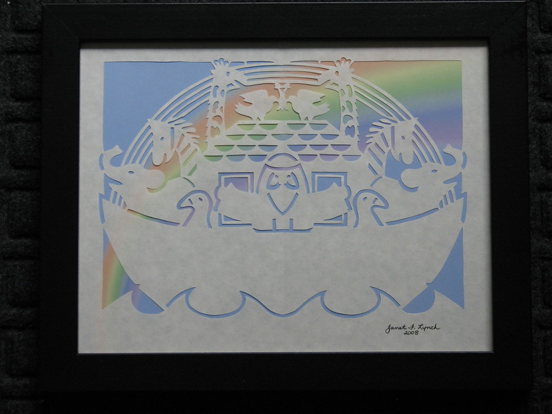 "Title: ""Noah's Ark- Rainbow"" - Framed Hand Cut Parchment <br /> Size: 8.5x11<br /> Price:$30  Plus Tax -S&H<br /> Email Your Order: JanetLynchArt@gmail.com"