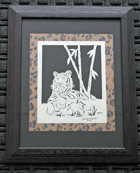 "Title: ""Tiger"" - Framed Hand Cut Parchment <br /> Size: 11x14<br /> Price:$35 Plus Tax -S&H<br /> Email Your Order: JanetLynchArt@gmail.com"