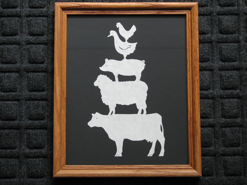 "Title: ""Stack Of Animals"" - Framed Hand Cut Parchment <br /> Size: 8x10<br /> Price:$20 Plus Tax -S&H<br /> Email Your Order: JanetLynchArt@gmail.com"