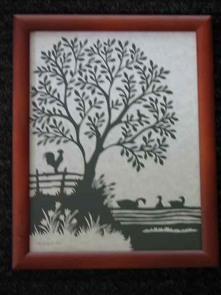 "Title: ""Ducks On Pond Rooster On Fence"" - Framed Hand Cut Parchment <br /> Size: 8.5x11<br /> Price:$49 Plus Tax -S&H<br /> Email Your Order: JanetLynchArt@gmail.com"