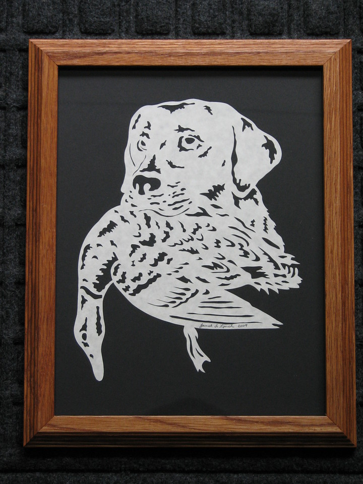 """Title: """"Lab With Duck"""" - Framed Hand Cut Parchment <br /> Size: 8.5x11<br /> Price:$45 Plus Tax -S&H<br /> Email Your Order: JanetLynchArt@gmail.com"""