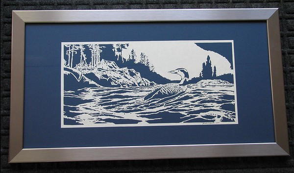 "Title: ""Camping On The Lake (Loon)"" - Framed Hand Cut Parchment  Size: 12x24 Price:$139 Plus Tax -S&H Email Your Order: JanetLynchArt@gmail.com"