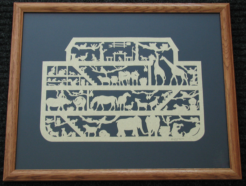 "Title: ""Noah's Ark"" - Framed Hand Cut Parchment <br /> Size: 16x20<br /> Price:$139  Plus Tax -S&amp;H<br /> Email Your Order: JanetLynchArt@gmail.com<br /> Purchase On LIne: <a href=""http://www.etsy.com/listing/172495157"">http://www.etsy.com/listing/172495157</a>"