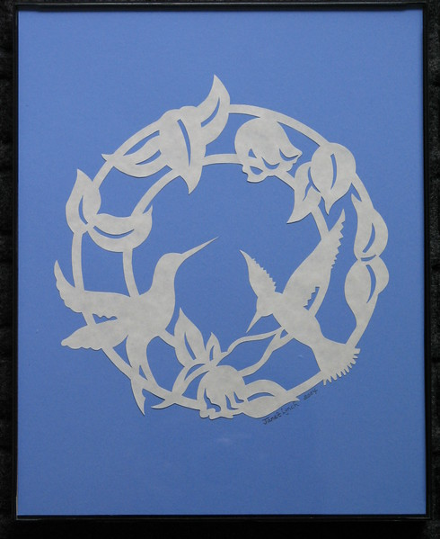 "Title: ""Humming Bird - Ring Of Flowers"" - Framed Hand Cut Parchment <br /> Size: 8x10<br /> Price:$35 Plus Tax -S&H<br /> Email Your Order: JanetLynchArt@gmail.com"
