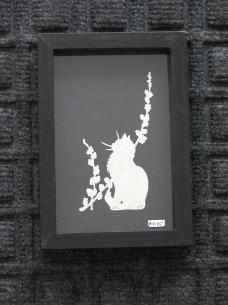 "Title: ""Cat Sitting With Flowers"" - Framed Hand Cut Parchment <br /> Size: 3.5x5.5 <br /> Price:$10  Plus Tax -S&H<br /> Email Your Order: JanetLynchArt@gmail.com"