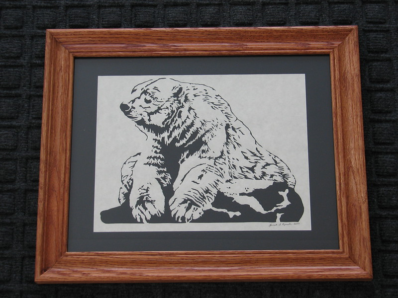"Title: ""Polar Bear"" - Framed Hand Cut Parchment <br /> Size: 11x14<br /> Price:$65 Plus Tax -S&H<br /> Email Your Order: JanetLynchArt@gmail.com"