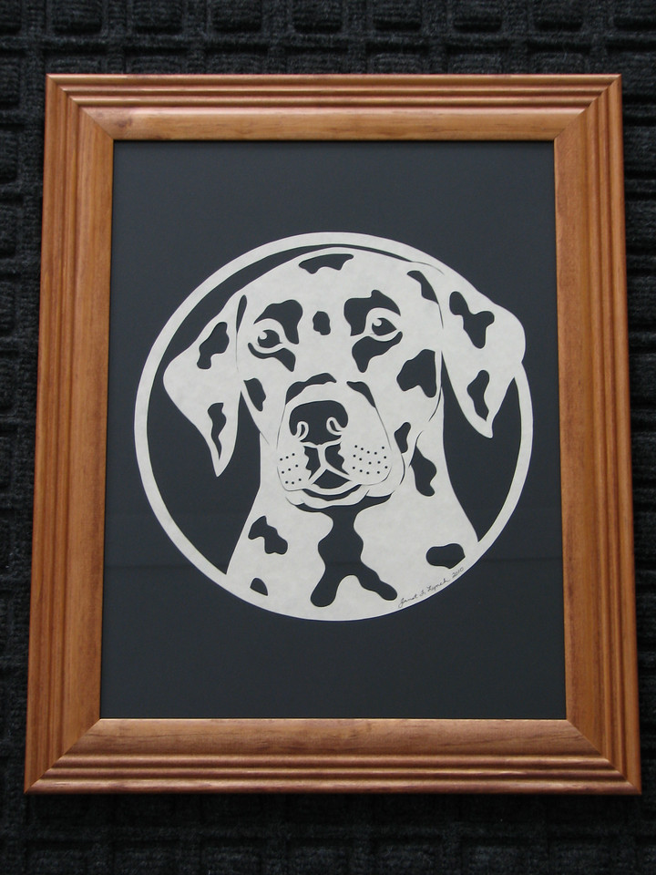 """Title: """"Dalmation"""" - Framed Hand Cut Parchment (Your Breed Available - Prices/Sizes Vary)<br /> Size: 10x13<br /> Price:$39 Plus Tax -S&H<br /> <br /> Buy This Item: <a href=""""http://www.etsy.com/listing/42850942/dalmation-10x13-framed-scherenschnitte"""">http://www.etsy.com/listing/42850942/dalmation-10x13-framed-scherenschnitte</a><br /> <br /> ~This paper cutting and all Scherenschnitte Art listed in my shop available as a beautiful print NoteCard. $3.95 ea or $2.95 ea if you order 10 mix or match <a href=""""http://www.etsy.com/listing/71810088/note-cards-5x7-choose-any-photo-or-paper"""">http://www.etsy.com/listing/71810088/note-cards-5x7-choose-any-photo-or-paper</a><br /> <br /> <br /> ~THIS ITEM SHIPS FREE IN US AND CANADA IF SHIPPED WITH ANY OTHER PURCHASE<br /> <br /> ~Have a special size or request? Just CLICK CONTACT AT THE BOTTOM and we'll see what we can work out.<br /> <br /> <br /> All images are copyright protected and the exclusive property of Janet Lynch and may not be used without permission."""