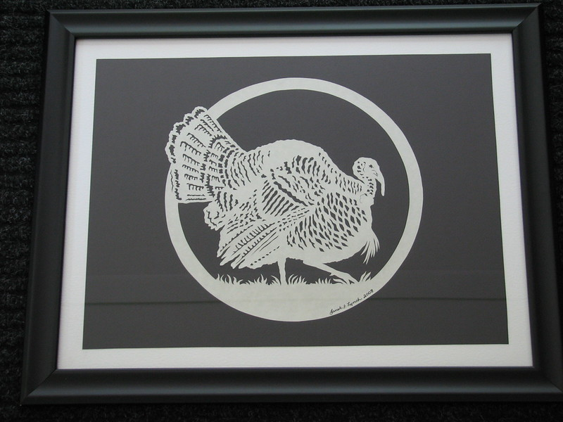 "Title: ""Spring Gobbler"" - Framed Hand Cut Parchment <br /> Size: 16x20<br /> Price:$89 Plus Tax -S&H<br /> Email Your Order: JanetLynchArt@gmail.com"