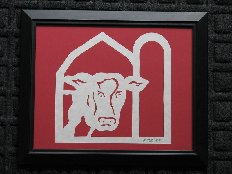 "Title: ""Cow In Barn"" - Framed Hand Cut Parchment <br /> Size: 8x10<br /> Price: $20  Plus Tax -S&H<br /> Email Your Order: JanetLynchArt@gmail.com"