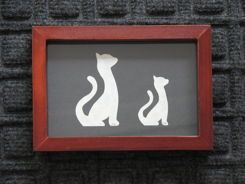 "Title: ""Two Cats Small & Large"" - Framed Hand Cut Parchment <br /> Size: 5x7<br /> Price:$7  Plus Tax -S&H<br /> Email Your Order: JanetLynchArt@gmail.com"