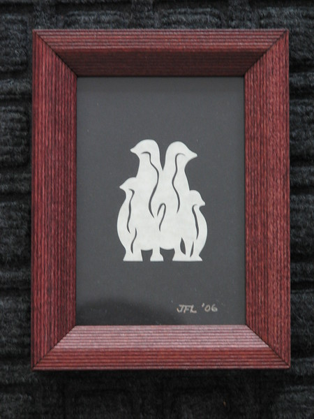 "Title: ""Penguins"" - Framed Hand Cut Parchment <br /> Size: 3.5x5<br /> Price:$7  Plus Tax -S&H<br /> Email Your Order: JanetLynchArt@gmail.com"