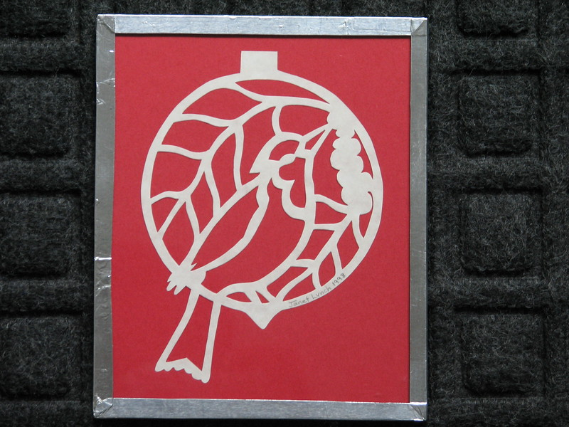 "Title: ""Cardinal"" - Framed Hand Cut Parchment <br /> Size: 5x6<br /> Price:$10  Plus Tax -S&H<br /> Email Your Order: JanetLynchArt@gmail.com"