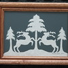 """Title: """"Deer At Evergreen Tree"""" -Framed Hand Cut Parchment  <br /> Size: 5x7<br /> Price: $20 Plus Tax -S&H<br /> Email Your Order: JanetLynchArt@gmail.com"""