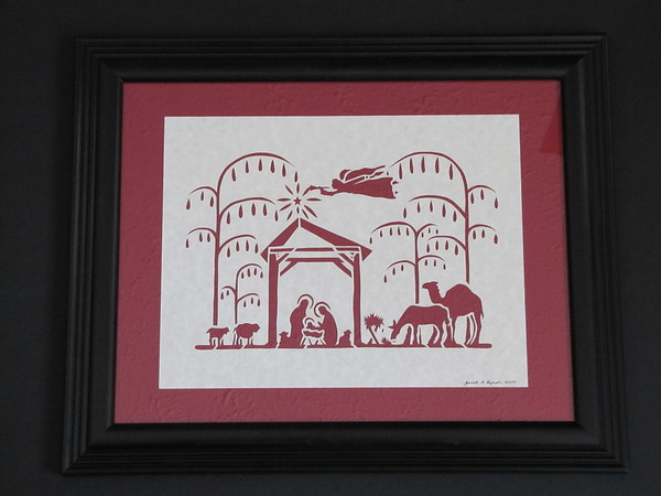 """Title: """"Nativity"""" - Framed Hand Cut Parchment <br /> Difficulty 6 of 10<br /> Size: 11x14<br /> Price:$59 Plus Tax -S&H<br /> Buy This Item: <a href=""""http://www.etsy.com/listing/86877044/christmas-framed-scherenschnitte"""">http://www.etsy.com/listing/86877044/christmas-framed-scherenschnitte</a><br /> JanetLynchArt@gmail.com"""