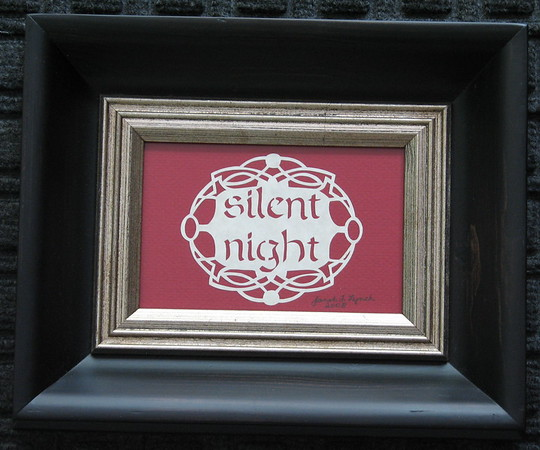 "Title: ""Silent Night"" -Framed Hand Cut Parchment  <br /> Size: 3.5x5.5<br /> Price: $30 Plus Tax -S&H<br /> Email Your Order: JanetLynchArt@gmail.com"