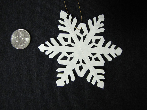 "Title: ""Snow Flake"" - Hand Cut Parchment<br /> Price: $6<br /> This item ships free in U.S. and Canada when shipped with an equal or lesser item<br /> <br /> ~ Scherenschnitte (hand paper cutting) Christmas Ornament<br /> Signed and dated by Janet Lynch<br /> <br /> ~ All Christmas ornaments can be personalized with names in Calligraphy<br /> Water Mark will not appear on your art order<br /> <br /> ~Want this as a print on a 5x7 Note Card? <a href=""http://www.etsy.com/listing/71810088/note-cards-5x7-choose-any-photo-or-paper"">http://www.etsy.com/listing/71810088/note-cards-5x7-choose-any-photo-or-paper</a><br /> <br /> ~ Want this as a print on a jewelry pendant? <a href=""http://www.etsy.com/listing/74448914/cape-hatteras-lighthouse-fine-art"">http://www.etsy.com/listing/74448914/cape-hatteras-lighthouse-fine-art</a><br /> <br /> ~ Special Custom requests welcome.....just email me and I will do my best to work with you. If you have a theme or particular interest I am sure I have a design for you......or I will design one just for you.<br /> <br /> ~Visit our shop to see all my hand cut Scherenschnitte Art, Fine Art Photography, Prints, Christmas Ornaments, Bookmarks, Note Cards, Photo Pendants, Jewelry:<br /> <a href=""http://artgalleryriverrd.etsy.com"">http://artgalleryriverrd.etsy.com</a>"