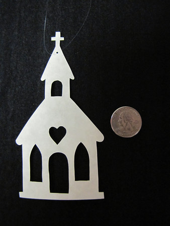 """Title: """"Church"""" - Hand Cut Parchment<br /> Price: $6<br /> This item ships free in U.S. and Canada when shipped with an equal or lesser item<br /> <br /> ~ Scherenschnitte (hand paper cutting) Christmas Ornament<br /> Signed and dated by Janet Lynch<br /> <br /> ~ All Christmas ornaments can be personalized with names in Calligraphy<br /> Water Mark will not appear on your art order<br /> <br /> ~Want this as a print on a 5x7 Note Card? <a href=""""http://www.etsy.com/listing/71810088/note-cards-5x7-choose-any-photo-or-paper"""">http://www.etsy.com/listing/71810088/note-cards-5x7-choose-any-photo-or-paper</a><br /> <br /> ~ Want this as a print on a jewelry pendant? <a href=""""http://www.etsy.com/listing/74448914/cape-hatteras-lighthouse-fine-art"""">http://www.etsy.com/listing/74448914/cape-hatteras-lighthouse-fine-art</a><br /> <br /> ~ Special Custom requests welcome.....just email me and I will do my best to work with you. If you have a theme or particular interest I am sure I have a design for you......or I will design one just for you.<br /> <br /> ~Visit our shop to see all my hand cut Scherenschnitte Art, Fine Art Photography, Prints, Christmas Ornaments, Bookmarks, Note Cards, Photo Pendants, Jewelry:<br /> <a href=""""http://artgalleryriverrd.etsy.com"""">http://artgalleryriverrd.etsy.com</a>"""