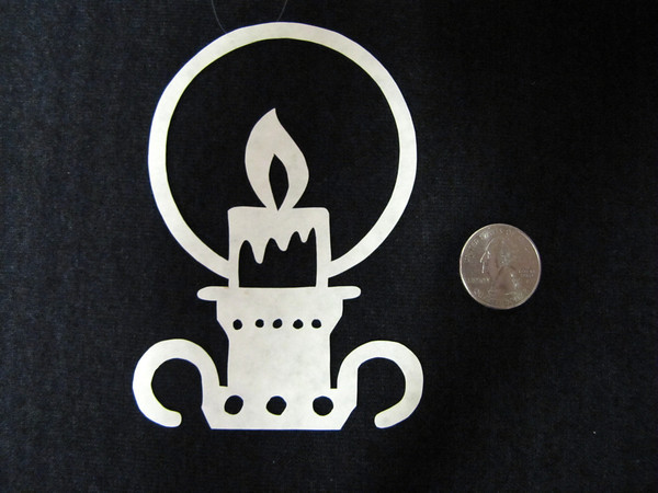 "Title: ""Candle Holder"" - Hand Cut Parchment<br /> Price: $6<br /> This item ships free in U.S. and Canada when shipped with an equal or lesser item<br /> <br /> ~ Scherenschnitte (hand paper cutting) Christmas Ornament<br /> Signed and dated by Janet Lynch<br /> <br /> ~ All Christmas ornaments can be personalized with names in Calligraphy<br /> Water Mark will not appear on your art order<br /> <br /> ~Want this as a print on a 5x7 Note Card? <a href=""http://www.etsy.com/listing/71810088/note-cards-5x7-choose-any-photo-or-paper"">http://www.etsy.com/listing/71810088/note-cards-5x7-choose-any-photo-or-paper</a><br /> <br /> ~ Want this as a print on a jewelry pendant? <a href=""http://www.etsy.com/listing/74448914/cape-hatteras-lighthouse-fine-art"">http://www.etsy.com/listing/74448914/cape-hatteras-lighthouse-fine-art</a><br /> <br /> ~ Special Custom requests welcome.....just email me and I will do my best to work with you. If you have a theme or particular interest I am sure I have a design for you......or I will design one just for you.<br /> <br /> ~Visit our shop to see all my hand cut Scherenschnitte Art, Fine Art Photography, Prints, Christmas Ornaments, Bookmarks, Note Cards, Photo Pendants, Jewelry:<br /> <a href=""http://artgalleryriverrd.etsy.com"">http://artgalleryriverrd.etsy.com</a>"