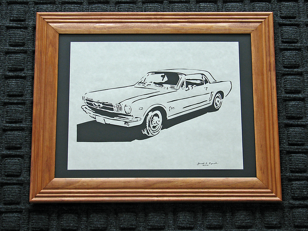 "Title: ""Mustang"" -Framed Hand Cut Parchment  <br /> Size: 10x13<br /> Price: $49 Plus Tax -S&H<br /> Buy This Item: <a href=""http://www.etsy.com/listing/88574806/ford-mustang-scherenschnitte-hand-paper"">http://www.etsy.com/listing/88574806/ford-mustang-scherenschnitte-hand-paper</a><br /> <br /> <br /> Title: "" Mustang "" - Framed Hand Cut Parchment<br /> Size: 10x13<br /> Difficulty 5 of 10<br /> <br /> Scherenschnitte (hand paper cutting)<br /> Signed and dated by Janet Lynch framed<br /> Water Mark will not appear on your art order<br /> <br /> ~Want this as a print on a 5x7 Note Card? <a href=""http://www.etsy.com/listing/71810088/note-cards-5x7-choose-any-photo-or-paper"">http://www.etsy.com/listing/71810088/note-cards-5x7-choose-any-photo-or-paper</a><br /> <br /> ~ Want this as a print on a jewelry pendant? <a href=""http://www.etsy.com/listing/74448914/cape-hatteras-lighthouse-fine-art"">http://www.etsy.com/listing/74448914/cape-hatteras-lighthouse-fine-art</a><br /> <br /> ~ Special Custom requests welcome.....just email me and I will do my best to work with you. If you have a theme or particular interest I am sure I have a design for you......or I will design one just for you.  Email : JanetLynchArt@gmail.com<br /> <br /> ~Frames may vary slightly depending on available stock"