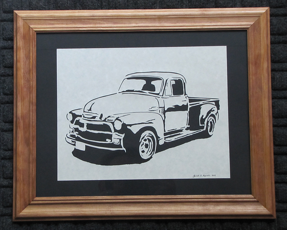 """Title: """" Classic '53 Chevy Pickup """" - Framed Hand Cut Parchment<br /> Size: 10x13<br /> Difficulty 6 of 10<br /> Price: $49<br /> Buy This Item: <a href=""""http://www.etsy.com/listing/88654944/classic-53-chevy-pickup-scherenschnitte"""">http://www.etsy.com/listing/88654944/classic-53-chevy-pickup-scherenschnitte</a><br /> <br /> Scherenschnitte (hand paper cutting)<br /> Signed and dated by Janet Lynch framed<br /> Water Mark will not appear on your art order<br /> <br /> ~Want this as a print on a 5x7 Note Card? <a href=""""http://www.etsy.com/listing/71810088/note-cards-5x7-choose-any-photo-or-paper"""">http://www.etsy.com/listing/71810088/note-cards-5x7-choose-any-photo-or-paper</a><br /> <br /> ~ Want this as a print on a jewelry pendant? <a href=""""http://www.etsy.com/listing/74448914/cape-hatteras-lighthouse-fine-art"""">http://www.etsy.com/listing/74448914/cape-hatteras-lighthouse-fine-art</a><br /> <br /> ~ Special Custom requests welcome.....just email me and I will do my best to work with you. If you have a theme or particular interest I am sure I have a design for you......or I will design one just for you. Email: JanetLynchArt@gmail.com<br /> <br /> ~All images are copyright protected and the exclusive property of Janet Lynch and may not be used without permission.<br /> ~Frames may vary slightly depending on available stock"""