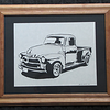 "Title: "" Classic '53 Chevy Pickup "" - Framed Hand Cut Parchment<br /> Size: 10x13<br /> Difficulty 6 of 10<br /> Price: $49<br /> Buy This Item: <a href=""http://www.etsy.com/listing/88654944/classic-53-chevy-pickup-scherenschnitte"">http://www.etsy.com/listing/88654944/classic-53-chevy-pickup-scherenschnitte</a><br /> <br /> Scherenschnitte (hand paper cutting)<br /> Signed and dated by Janet Lynch framed<br /> Water Mark will not appear on your art order<br /> <br /> ~Want this as a print on a 5x7 Note Card? <a href=""http://www.etsy.com/listing/71810088/note-cards-5x7-choose-any-photo-or-paper"">http://www.etsy.com/listing/71810088/note-cards-5x7-choose-any-photo-or-paper</a><br /> <br /> ~ Want this as a print on a jewelry pendant? <a href=""http://www.etsy.com/listing/74448914/cape-hatteras-lighthouse-fine-art"">http://www.etsy.com/listing/74448914/cape-hatteras-lighthouse-fine-art</a><br /> <br /> ~ Special Custom requests welcome.....just email me and I will do my best to work with you. If you have a theme or particular interest I am sure I have a design for you......or I will design one just for you. Email: JanetLynchArt@gmail.com<br /> <br /> ~All images are copyright protected and the exclusive property of Janet Lynch and may not be used without permission.<br /> ~Frames may vary slightly depending on available stock"