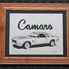 """Title: """"Camaro"""" -Framed Hand Cut Parchment  <br /> Size: 10x13<br /> Price: $49 Plus Tax -S&H<br /> Email Your Order: JanetLynchArt@gmail.com"""