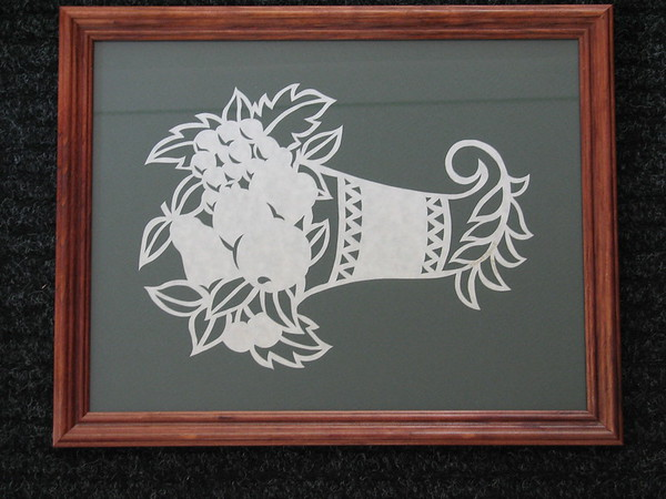 "Title: ""Horn Of Plenty"" - Framed Hand Cut Parchment <br /> Size: 10x13<br /> Price:$45 Plus Tax -S&H<br /> Email Your Order: JanetLynchArt@gmail.com"