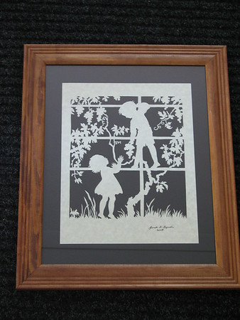 "Title: ""Boy And Girl Picking Grapes"" - Framed Hand Cut Parchment <br /> Size: 11x14<br /> Price:$59 Plus Tax -S&H<br /> Email Your Order: JanetLynchArt@gmail.com"