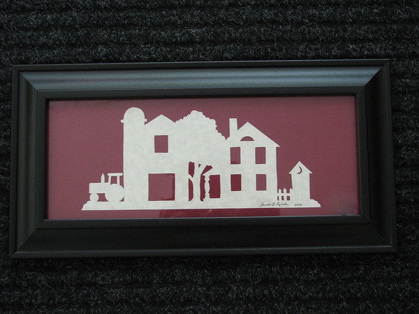 "Title: ""Farm House"" - Framed Hand Cut Parchment <br /> Size: 5x12<br /> Price:$25 Plus Tax -S&H<br /> Email Your Order: JanetLynchArt@gmail.com"
