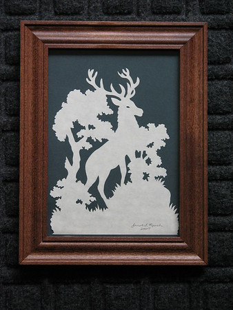 "Title: ""Stag"" - Framed Hand Cut Parchment <br /> Size: 5x7<br /> Price:$35  Plus Tax -S&H<br /> Email Your Order: JanetLynchArt@gmail.com"