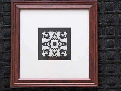 "Title: ""Alex's Cats"" - Quilt Pattern Framed Hand Cut Parchment  Size: 10x10 Difficulty 4 out of 10 Price:$39 Plus Tax -S&H Email Your Order: JanetLynchArt@gmail.com"