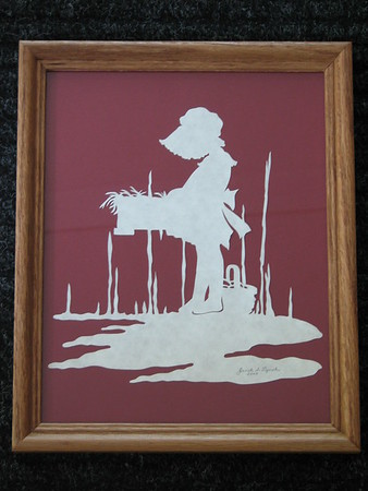 "Title: ""Girl Gathering Eggs"" -Framed Hand Cut Parchment  <br /> Size: 8x10<br /> Price: $25<br /> Email Your Order: JanetLynchArt@gmail.com"