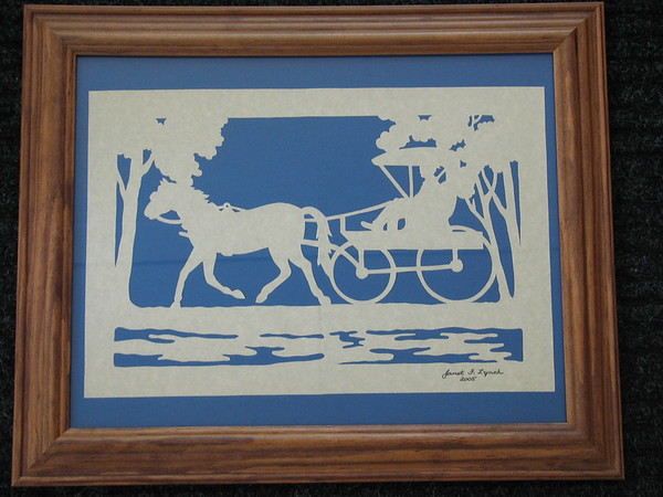 "Title: ""Horse And Buggy"" - Framed Hand Cut Parchment <br /> Size: 11x14<br /> Price:$59 Plus Tax -S&H<br /> Email Your Order: JanetLynchArt@gmail.com"