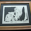 "Title: ""Cowgirl"" - Framed Hand Cut Parchment <br /> Difficulty 6 of 10<br /> Size: 11x14<br /> Price:$69 Plus Tax -S&H<br /> Buy This Item:  <a href=""http://www.etsy.com/listing/42369421/cow-girl-with-horse-scherenschnitte-hand"">http://www.etsy.com/listing/42369421/cow-girl-with-horse-scherenschnitte-hand</a><br /> From our ""Most Popular"" room in our Art Gallery Located in Manakin Sabot, VA<br /> <br /> Scherenschnitte (hand paper cutting)<br /> Signed and dated by Janet Lynch framed 11x14<br /> Water Mark will not appear on your art order<br /> <br /> ~Want this as a print on a 5x7 Note Card? <a href=""http://www.etsy.com/listing/71810088/note-cards-5x7-choose-any-photo-or-paper"">http://www.etsy.com/listing/71810088/note-cards-5x7-choose-any-photo-or-paper</a><br /> <br /> ~ Want this as a print on a jewelry pendant? <a href=""http://www.etsy.com/listing/74448914/cape-hatteras-lighthouse-fine-art"">http://www.etsy.com/listing/74448914/cape-hatteras-lighthouse-fine-art</a><br /> <br /> ~ Special Custom requests welcome.....just CLICK CONTACT  and I will do my best to work with you. If you have a theme or particular interest I am sure I have a design for you......or I will design one just for you."