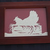 "Title: ""Chicken Nesting"" - Framed Hand Cut Parchment <br /> Size: 5x7<br /> Price:$15 Plus Tax -S&H<br /> Email Your Order: JanetLynchArt@gmail.com"