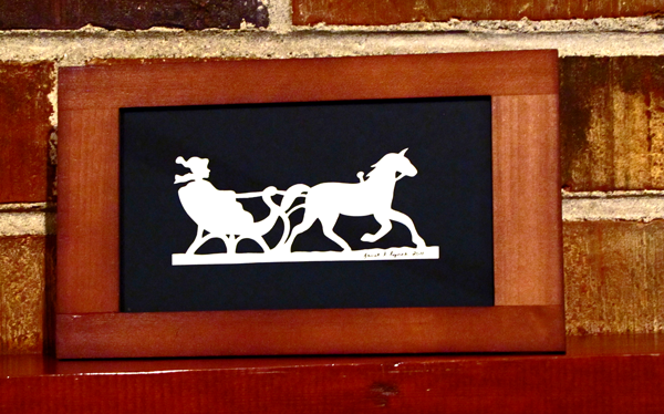 """Title: """"One Horse Open Sleigh"""" - Framed Hand Cut Parchment<br /> Size: 4x7<br /> Price: $15 plus tax / shipping<br /> <br /> Buy This Item: <a href=""""http://www.etsy.com/listing/86283228/christmas-framed-scherenschnitte-one"""">http://www.etsy.com/listing/86283228/christmas-framed-scherenschnitte-one</a><br /> <br /> Scherenschnitte (hand paper cutting)<br /> Signed and dated by Janet Lynch framed 4x7<br /> Water Mark will not appear on your art order<br /> <br /> ~Want this as a print on a 5x7 Note Card? <a href=""""http://www.etsy.com/listing/71810088/note-cards-5x7-choose-any-photo-or-paper"""">http://www.etsy.com/listing/71810088/note-cards-5x7-choose-any-photo-or-paper</a><br /> <br /> ~ Want this as a print on a jewelry pendant? <a href=""""http://www.etsy.com/listing/74448914/cape-hatteras-lighthouse-fine-art"""">http://www.etsy.com/listing/74448914/cape-hatteras-lighthouse-fine-art</a><br /> <br /> ~ Special Custom requests welcome.....just CLICK CONTACT AT THE BOTTOM  and I will do my best to work with you. If you have a theme or particular interest I am sure I have a design for you......or I will design one just for you."""