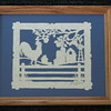 "Title: ""Rooster On Fence"" - Framed Hand Cut Parchment  Size: 8x10 Price:$39 Plus Tax -S&H Email Your Order: JanetLynchArt@gmail.com"