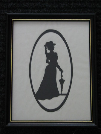 "Title: ""Victorian Silhouette-Lady"" -Framed Hand Cut Black Paper <br /> Size: 8.5x11<br /> Price: Price: $29 - or- $49 for the set of 2<br /> Email Your Order: JanetLynchArt@gmail.com"