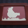 "Title: ""Chicken Feeding"" - Framed Hand Cut Parchment <br /> Size: 5x7<br /> Price:$15 Plus Tax -S&H<br /> Email Your Order: JanetLynchArt@gmail.com"